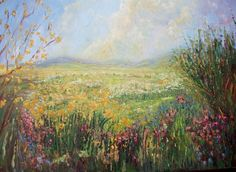 Spring in the Meadows by Therese O'Keeffe - I paint mainly in oils using brushes and pallet knife. I like to use vibrant colours. My paintings are an impression of the landscape and the colours of nature I see around me. I always carry my camera on walks and work with the photos as references.   Oil painting, Canvas Size: 39.37 × 27.56 × 1.57 inches (unframed) $616.57