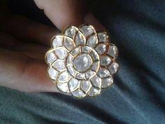 Kundan daimond white polki jadau gold ring
