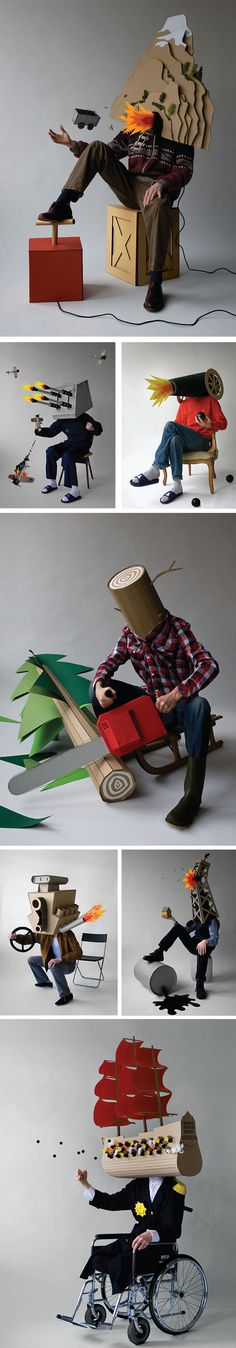 Click for more pics! | StudioSpass handcrafted an 'explosive' mask made of cardboard along with different settings. #cardboard #art Big Face, Paper Fashion, Cardboard Art, Paper Book, Cosplay Makeup, Fabric Manipulation, Handmade Design, Still Life Photography, Stop Motion