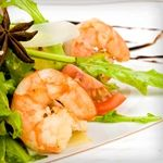 ATKINS LOW CARB MARINATED SHRIMP SALAD: 1/4 lb large shrimp shelled and deveined, 1/3 stalks celery thinly sliced on the diagonal, 1/3 scalllions thinly sliced on the diagonal with some of green portion, 1/3 Tablespoons thinly sliced basil leaves, 1/4 Teaspoon Dijon mustard, 1/8 Teaspoon freshly grated lemon zest, 1/8 Teaspoon salt, 1/16 Teaspoon freshly ground black pepper, 2/3 Tablespoons freshly squeezed lemon juice, 2/3 Tablespoons extra-virgin olive oil. Net carbs = 2.5 g