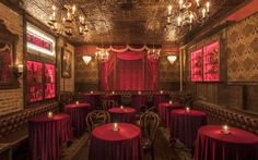Black Rabbit Rose Revives the Magic Theater in Hollywood - Eater LAclockmenumore-arrow : The stunning new project comes from nightlife impresarios Jonnie and Mark Houston Speakeasy Decor, Theater, Stage Curtains, Rose Cocktail, Los Angeles Restaurants, World Of Darkness, Scenic Design, Cool Bars, Room Themes