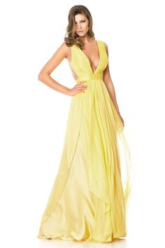 Alluring Silk Like Chiffon & Stretch Satin V-Neck A-Line Prom Dresses Nz/Ball Dresses Nz Ball Dresses Yellow Evening Dresses, Chiffon Evening Dresses, Long Evening Gowns, Chiffon Dress, Silk Chiffon, Yellow Dress, Pleated Skirt, Bridesmade Dresses, A Line Prom Dresses