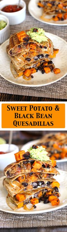 Sweet Potato and Black Bean Quesadillas are meatless but full of sweet potatoes, black beans, onions, and a spicy kick - topped with guacamole and salsa.