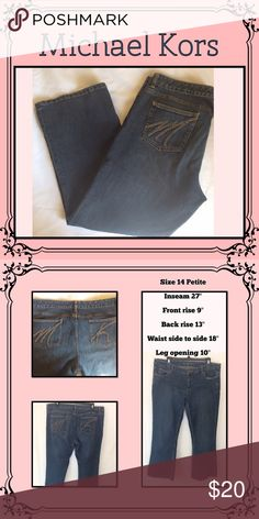 Relaxed Jeans EUC// 5 pocket// yellow stitching//dark denim//Petite size// no stains or fryed Michael Kors Jeans