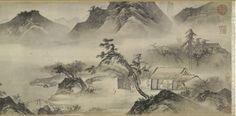 Tang Yin (1470-1523), Thatched Cottage in the Western Mountains, Ming dynaasty. Handscroll. Landscape and inscriptions and colophons. Ink and colours on paper. © The Trustees of the British Museum.