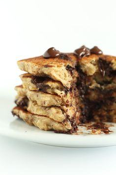 Easy Healthy Chocolate Chip Oatmeal Cookie Pancakes! One bowl, 30 minutes, plus #vegan AND #glutenfree!