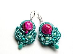 Fresh   Dangle soutache earrings by Bajobongo on Etsy