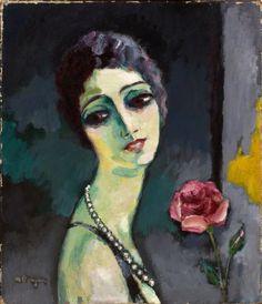 Kees Van Dongen (1877-1968) - Portrait de Madeleine Grey à la Rose 1929 - Oil on Canvas