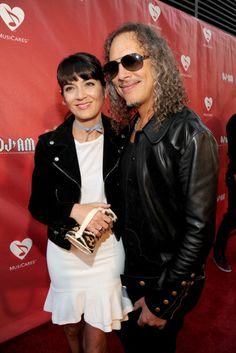 Kirk Hammett and Lani Hammett attend the MusiCares MAP Fund Benefit Concert at Club Nokia on May 12, 2014 in Los Angeles, California.