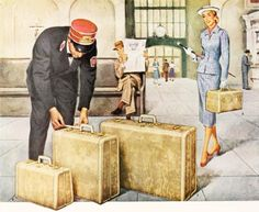 Illustration from a Samsonite luggage ad, 1952. #vintage #1950s #travel #suitcases