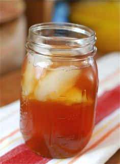 Roasted Peach Iced Tea - halve and pit peaches, sprinkle with sugar and roast in oven. Remove skin and puree before adding to brewed tea. Chill. Yum!!! Roasting the peaches gives them a deeper, caramel-y flavor.