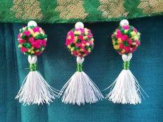 How to make saree kuchu with pom poms & beads l how to make saree kuchu/ tassels l kuchu design# 24 - YouTube