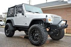 white jeep wrangler with aluminium wheels - Google Search