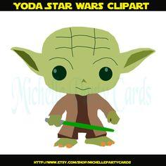 Yoda Star Wars Clipart-Illustration by michellepartycards on Etsy Star Wars Baby, Star Wars Karikatur, Star Wars Birthday Cake, Star Wars Cartoon, Disney Images, Action Film, Diy Wind Chimes, Busy Book, Star Wars Party