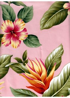 14wehi Tropical Hibiscus & bird of paradise, plumeria flowers, vintage apparel style fabric.  More fabrics at: BarkclothHawaii.com