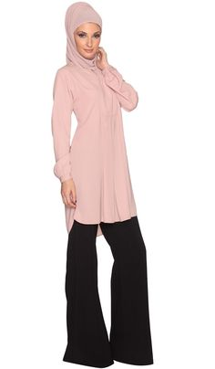 Dusty Pink Modest Tunic Dress | Find more Modest Islamic Clothing at Artizara.com