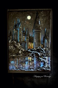 Fabulous polymer clay pendant journal cover of Hogwarts Castle