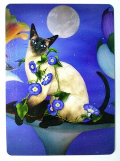 Siamese Cat. Fantasy Art with Moon & Flowers.