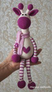Амигуруми жираф описание вязаной игрушки крючком