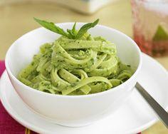 "Chloe's Kitchen recipe: Avocado Pesto Pasta. ""Best pasta ever,"" say carnivores. #veganrecipe"