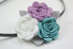 Baby Headbands  Lavender Gray Teal  Newborn by BlueSkyDesignsCo,