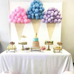 good ideas with to our Ice cream themed birthday party set up for a beautiful princess decoration and table set up by me Balloon Decorations Party, Birthday Party Decorations, Party Themes, Ideas Party, Theme Parties, Table Decorations, Birthday Party Tables, First Birthday Parties, Birthday Balloons