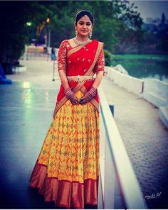 Half Saree Lehenga, Saree Gown, Bridal Lehenga Choli, Half Saree Designs, Bridal Blouse Designs, Lehenga Designs, Indian Designer Outfits, Designer Dresses, Half Saree Function