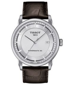Tissot Watch, Men's Swiss Automatic Luxury Brown Leather Strap 41mm T0864071603100
