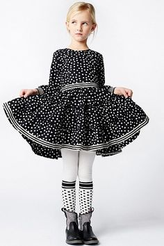 Mim Pi Black And White Dot With Gathered And Tiered Dress  *Preorder*