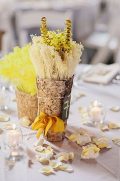 centerpieces wrapped in birch // photo by Clean Plate Pictures // view more: http://ruffledblog.com/geeky-brooklyn-wedding