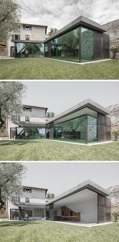 In deze Italiaanse villa kun je de ramen laten zakken zodat je in één keer in de buitenlucht zit.