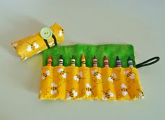 Bumblebee Crayon Roll  Holds 816 Crayons by EmmisOwls on Etsy, $5.00