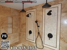 Delta Shower System Walnut and Ivory Travertine