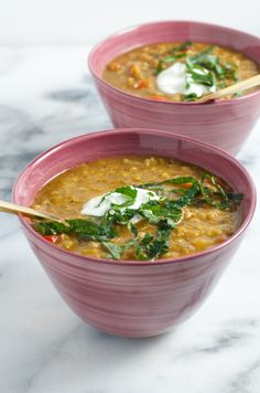 Turkish Lentil Soup with Sumac and Mint...an easy, quick, no fuss dinner from www.sprinkledsideup.com