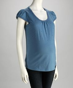 Take a look at this Blue Embellished Maternity Cap-Sleeve Top - Women by Dynabelly on #zulily today! $16.99, regular 24.00