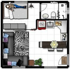 Small Apartment Layout, Small House Layout, Studio Apartment Floor Plans, Studio Apartment Design, Apartment Plans, Small Apartment Decorating, Small House Design, House Layouts, Carriage House Apartments