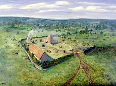 Iron Age Settlement at Lofts Farm, near Maldon, c.850 BC  Roger Massey-Ryan (b.1959)  Oil on board, 48 x 60 cm, 1997.  Essex County Council.