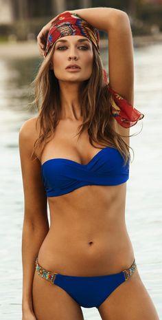 PilyQ 2014 Rebel Blue Underwire Bandeau Bikini