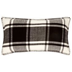 "A classic for holiday, our MacDuffies Pillow Cover is designed in a versatile black and white plaid that's at home in any holiday setting. Blanket-stitched edges lend it rustic charm, while a soft hand makes it the perfect fireside pillow at home or the chalet. 12"" x 21"". 100% acrylic. Machine-wash separately. Lay flat to dry. Available only at Indigo."
