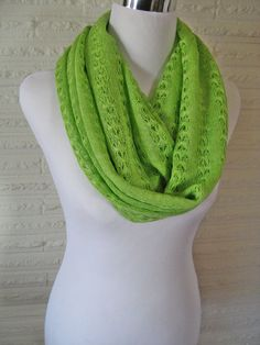 Soft Lime Green Crochet Lace LONG Infinity Scarf  by ChevronScarf