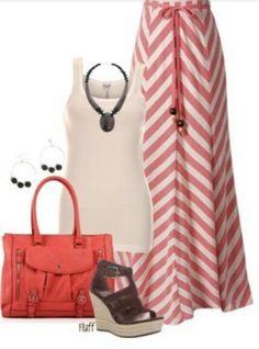 Chevron maxi skirt #Outfits #maxiskirt fluff05