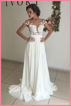 See Through Wedding Dress,Sexy Wedding Dress,Boho Wedding Dress,Summer Wedding Dress,Beach Wedding Ivory Prom Dresses, Wedding Dresses 2018, White Wedding Dresses, Cheap Wedding Dress, Bridal Dresses, Homecoming Dresses, Ivory Wedding, Dress Prom, Long Dresses