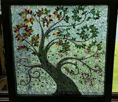Four Seasons Tree Glass Mosaic on a Vintage Window OOAK Spring Summer Fall Winter