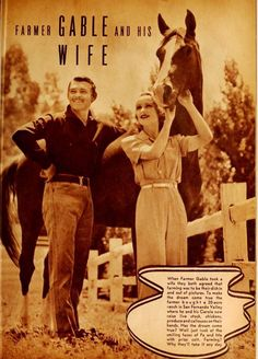 Clark and Carol at their SFV Ranch featured in the Motion Picture Magazine 1939
