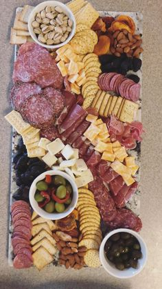 Meat, olive, cheese, fruits and nut platter for the Super Bowl. Cheese Fruit Platters, Deli Platters, Meat And Cheese Tray, Meat Trays, Party Food Platters, Meat Platter, Cheese And Cracker Platter, Deli Tray, Charcuterie Recipes