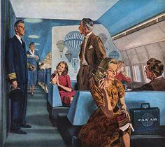 Vintage Robert Fawcett illustration for Pan Am Airline advertisement.