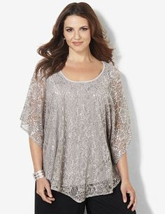 Draping Lace Top: Draping, poncho-style top is just the romantic style you need for your wardrobe. Covered in delicate, floral lace with metallic lurex yarn for extra shine. Scoopneck style has a graceful top layer with a stitched, solid tank underneath to let the lace pop. Catherines tops are perfectly proportioned for the plus size woman. catherines.com #Catherines #PlusSize #PlusSizeFashion