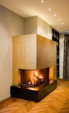 42 extraordinary modern fireplace designs that are comfortable this winter 4 ~ Beautiful House Lovers Home Fireplace, Modern Fireplace, Fireplace Design, Fireplaces, Fireplace Inserts, Wood Design, Interior Design Living Room, Home Accessories, Beautiful Homes