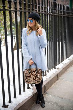 Zara Pastel blue fuzzy Coat