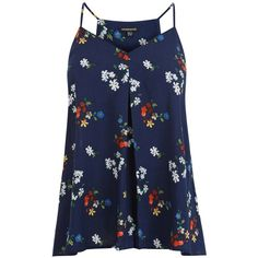 Warehouse Spaced Floral Cami Top, Blue ($13) ❤ liked on Polyvore featuring tops, tank tops, tanks, shirts, racerback camisole, floral sleeve shirt, no sleeve shirt, racerback tank and v neck cami